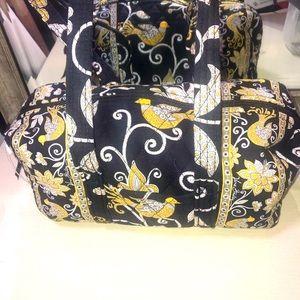 Vera Bradley Small Duffel Bag-Yellow Bird Pattern